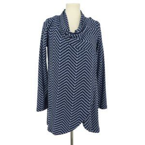 The Limited Blue Chevron Striped Wrap Front Top